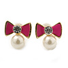 Children's/ Teen's / Kid's Small Deep Pink Enamel, Simulated Pearl 'Bow' Stud Earrings In Gold Plating - 10mm Length