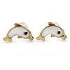 Children's/ Teen's / Kid's Small White Enamel 'Dolphin' Stud Earrings In Gold Plating - 10mm Length