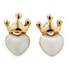 Children's/ Teen's / Kid's Small White Enamel 'Heart In The Crown' Stud Earrings In Gold Plating - 12mm Length