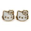 Children's/ Teen's / Kid's Tiny White Enamel 'Kitty' Stud Earrings In Gold Plating - 9mm Diameter