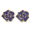 Children's/ Teen's / Kid's Small Purple Enamel 'Flower' Stud Earrings In Gold Plating - 10mm Length