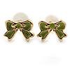 Children's/ Teen's / Kid's Tiny Olive Green Enamel 'Bow' Stud Earrings In Gold Plating - 7mm Length