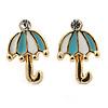 Children's/ Teen's / Kid's Small Light Blue, White Enamel 'Umbrella' Stud Earrings In Gold Plating - 11mm Length