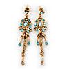 Vintage Inspired Light Blue Diamante Chandelier Earrings In Gold Plating - 65mm Length