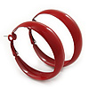Medium Dark Red Enamel Hoop Earrings - 45mm Diameter