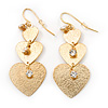 Gold Tone Textured Diamante Triple Heart Drop Earrings - 50mm Length