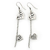Silver Tone Double Heart Chain Drop Earrings - 70mm Length