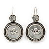 Vintage Inspired Mother of Pearl 'Angel' Drop Earrings In Burn Silver Tone - 35mm Length