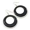 Black Enamel Double Hoop Earrings In Gold Plating - 70mm Length