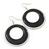 Black Enamel Double Hoop Earrings In Gold Plating - 70mm Length