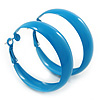 Medium Sky Blue Enamel Hoop Earrings - 45mm Diameter