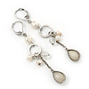 Vintage Inspired Beaded Linear Drop Earrings With Leverback Closure In Silver Tone - 65mm Length