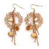 Gold Tone 'Wreath With Chain Dangles' Drop Earrings - 80mm Length