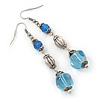 Long Blue Acrylic Bead Linear Drop Earrings In Antique Silver Metal - 75mm Length