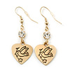 Gold Plated Heart With Dove, Crystal Drop Earrings - 50mm Length
