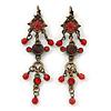 Vintage Inspired Red Enamel, Crystal, Bead Drop Earrings With Leverback Closure In Bronze Tone Metal - 65mm Length