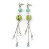 Long Light Green Fabric, Light Blue Glass Bead Chain Dangle Earrings In Silver Tone - 11cm Length