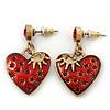 Vintage Inspired Red Enamel, Crystal 'Heart' Drop Earrings In Antique Gold Metal - 33mm Length