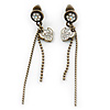 Vintage Inspired Bronze Tone Crystal Tassel Drop Earrings - 60mm Length