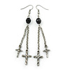 Long Vintage Inspired Chain Cross Dangle Earrings In Antique Silver Metal - 95mm Length