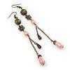 Vintage Inspired Bronze Tone Filigree, Pink Acrylic Bead, Chain Drop Earrings - 11cm Length
