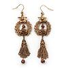 Vintage Inspired Floral Freshwater Pearl, Tassel Drop Earrings In Bronze Tone - 85mm Length