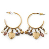 Medium Vintage Inspired Antique Gold Tone Hoop Earrings With Heart, Flower, Freshwater Pearl Charms - 40mm Length