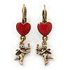 Vintage Inspired Gold Tone Red Enamel Heart, Angel Drop Earrings With Leverback Closure - 40mm Length