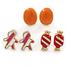 Children's/ Teen's / Kid's Red Candy, Pink Gingerbead Man, Orange Oval Stud Earring Set In Gold Tone - 10mm (Set of 3 Studs)