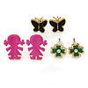 Children's/ Teen's / Kid's Black Butterfly, Green Daisy, Deep Pink Baby Girl Stud Earring Set In Gold Tone - 8-14mm (Set of 3 Studs)