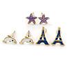 Children's/ Teen's / Kid's Dark Blue Eiffel Tower, Purple Starfish, White Dolphin Stud Earring Set In Gold Tone - 10-12mm