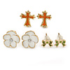 Children's/ Teen's / Kid's Green Bow, White Flower, Orange Cross Stud Earring Set In Gold Tone - 6-12mm