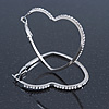 Large Crystal Heart Hoop Earrings In Rhodium Plating - 50mm Across