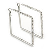 Rhodium Plated Crystal Square Hoop Earrings - 45mm Width