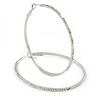 Large Oval Crystal Hoop Earrings In Rhodium Plating - 70mm L