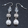Vintage Inspired Beaded Drop Earrings In Silver Tone - 50mm Length