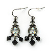 Victorian Style Black Glass Bead, AB Crystal Drop Earrings In Burn Silver Metal - 45mm Length