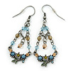 Vintage Inspired Acrylic Bead, Crystal Chandelier Earrings In Pewter Tone (Light Blue, Olive, Beige) - 65mm L