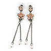Vintage Inspired Crystal Pink Enamel Flower Double Chain Dangle Earrings In Pewter Tone - 60mm L
