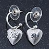 Silver Tone Small Hoop With Heart Locket Charm Drop Earrings - 28mm Length