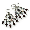 Victorian Style AB Crystal, Black Acrylic Bead Chandelier Earrings In Antique Silver Tone - 50mm Length