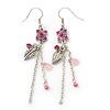 Pink Enamel Flower, Acrylic Bead Chain Dangle Earrings In Silver Tone - 8cm Length