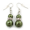 Dark Olive Glass Pearl, Crystal Drop Earrings In Rhodium Plating - 40mm Length