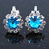 Small Light Blue, Clear Crystal Floral Clip On Earrings In Silver Tone - 15mm L