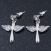Rhodium Plated Angel Wings, Cross Drop Earrings - 30mm Length