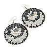 Black/ White/ Grey Round Enamel Hammered 'Rose' Drop Earrings In Silver Tone - 60mm Length