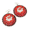 Red/ Burgundy Round Enamel Hammered 'Rose' Drop Earrings In Silver Tone - 60mm Length
