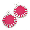 Large Round Bright Pink Enamel Drop Earrings In Silver Tone - 45mm Diameter