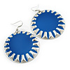 Large Round Royal Blue Enamel Drop Earrings In Silver Tone - 45mm Diameter