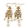 Vintage Inspired Diamante, Simulated Pearl Floral Drop Earrings In Gold Plating - 50mm Length